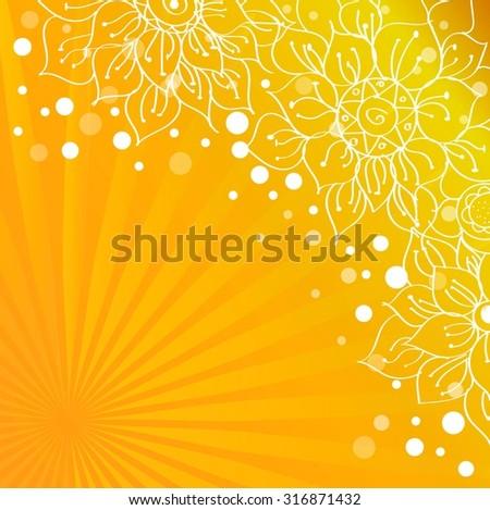 Beautiful summer sunburst. Vector background. - stock vector