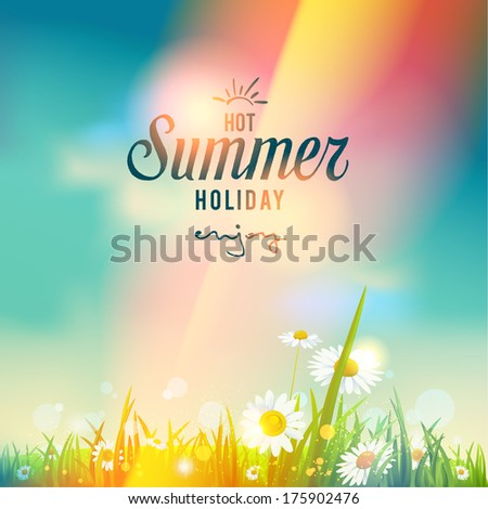 Beautiful summer sunrise or sunset. Vector seasonal illustration. - stock vector