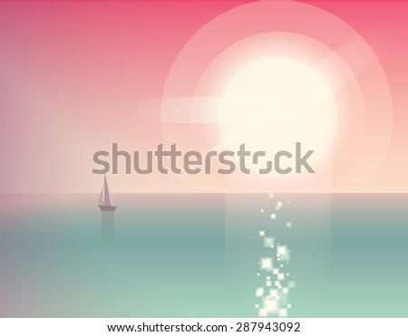 beautiful summer vacation ocean view vector illustration with sailing boat on pink sunset - stock vector