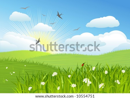 Beautiful sun day / Vector illustration - stock vector