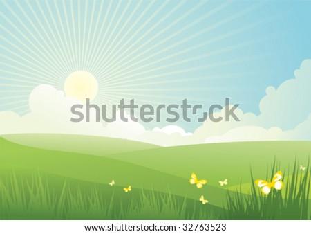 Beautiful sun day / Vector illustration - stock vector