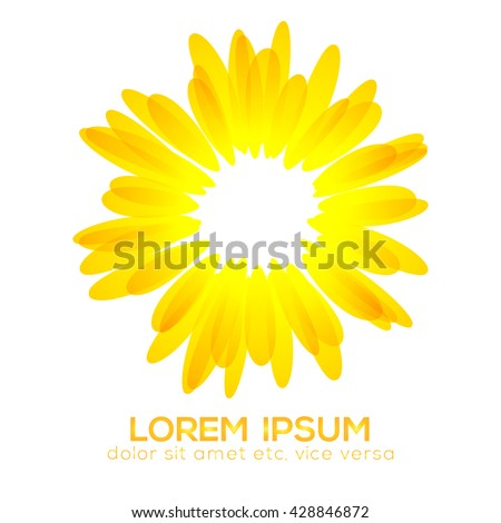 Beautiful sunflower icon, abstract natural flower background. - stock vector