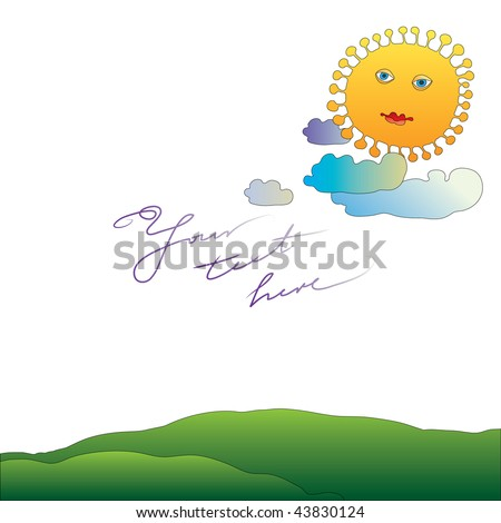 beautiful sunny landscape letter paper - stock vector