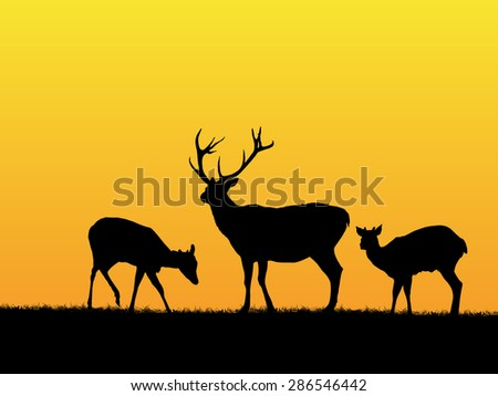 Beautiful sunset background with deer silhouettes - stock vector