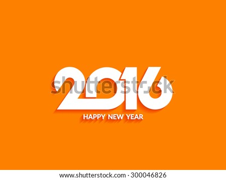 Beautiful text design of happy new year 2016 on bright background. - stock vector