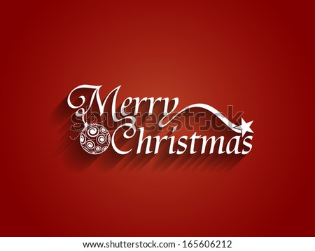 Beautiful text design of Merry Christmas on red color background. vector illustration - stock vector