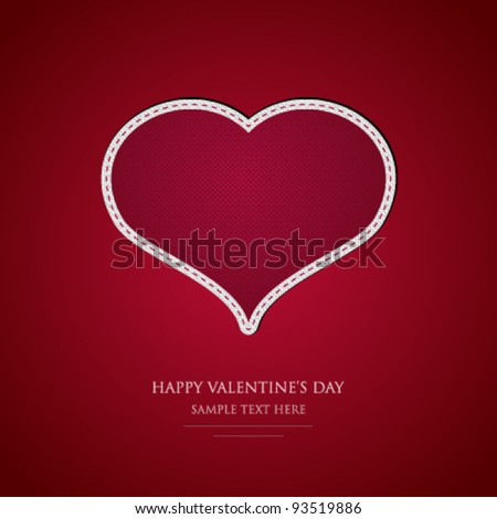 Beautiful textile heart - Valentine's Day card - EPS10 - stock vector