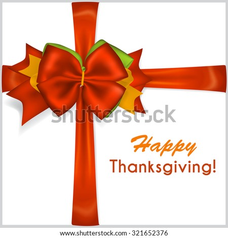 Beautiful Thanksgiving red bow with crosswise ribbons - stock vector