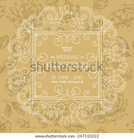 Beautiful thin line ornamental frame Wedding invitation. Vector illustration. - stock vector