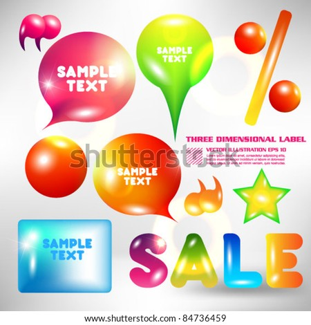 beautiful three dimensional label set - stock vector