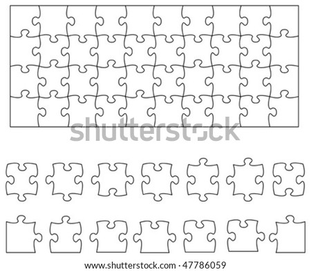 Beautiful transparent jigsaw puzzle vector 10x4 (wide), image applicable to several concepts