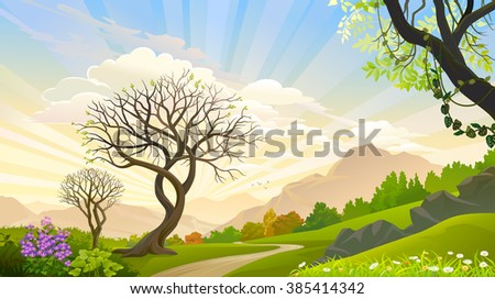 Beautiful trees in a magical forest - stock vector