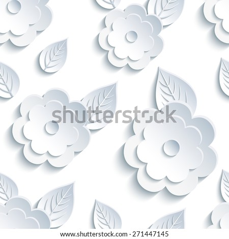 Beautiful trendy nature background seamless pattern stock vector beautiful trendy nature background seamless pattern with white grey summer 3d flower and leaves mightylinksfo