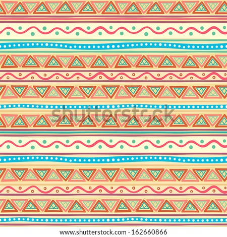 beautiful tribal striped abstract multicolored pattern with triangles. vector illustration