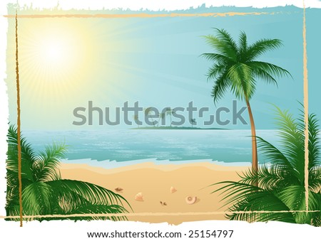Beautiful tropical beach, EPS format included, file size 4.90 Mb - stock vector
