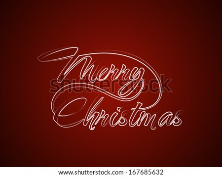 Beautiful typography of Merry Christmas in brush stroke style on red color background. vector illustration - stock vector