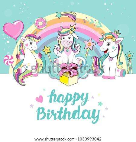Beautiful unicorn happy birthday card stock vector 2018 1030993042 happy birthday card bookmarktalkfo Choice Image