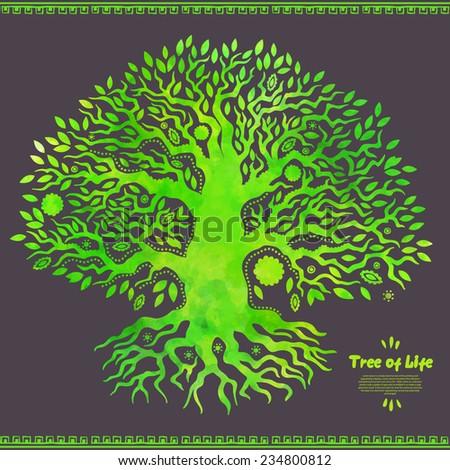 Beautiful Unique vector watercolor ethnic tree of life - stock vector