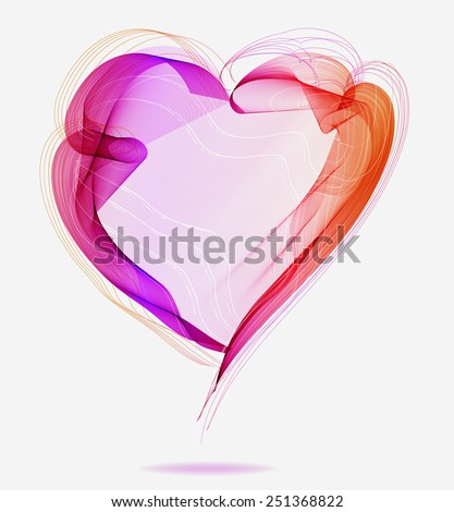 Beautiful Valentine's background with abstract color heart, illustration, vector - stock vector
