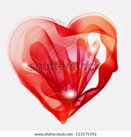 Beautiful Valentine's background with abstract red heart, illustration, vector