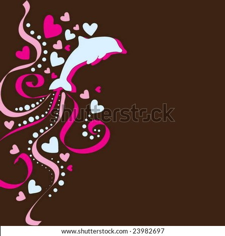 Beautiful valentine's background with dolphin and hearts - stock vector
