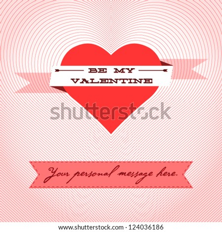 Beautiful Valentine's Day card with message with arrow in center and copy space - stock vector