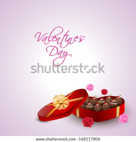Beautiful valentines day background with heart shape red gift box full of with chocolates and roses on pink background.  - stock vector