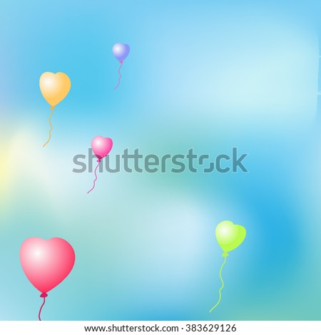 Beautiful vector background for greetings cards, invitations, brochures, booklets. Helium balloons in the shape of a heart against the blue sky, sun, clouds. - stock vector