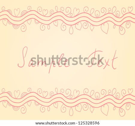 Beautiful vector card with wavy lines, hearts and flourish decorative elements. - stock vector