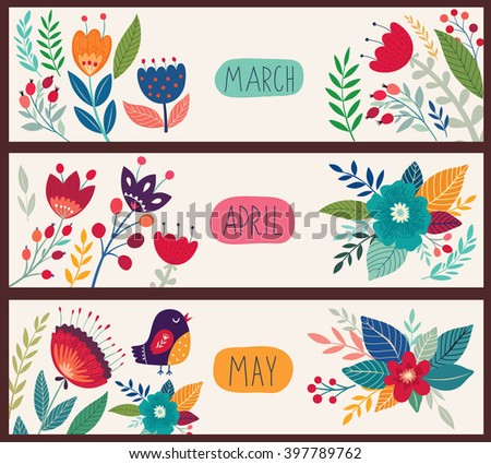 Beautiful vector collection with flowers and leaves. Spring art print with botanical elements - stock vector
