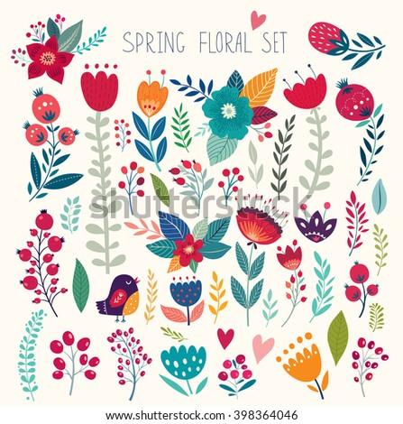 Beautiful vector collection with flowers and leaves. Spring art print with botanical elements. Romantic collection. - stock vector