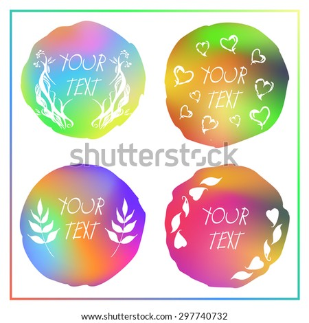 Beautiful vector colorful watercolor isolated gradient circles form template Set of design elements with branch, leaves, hearts