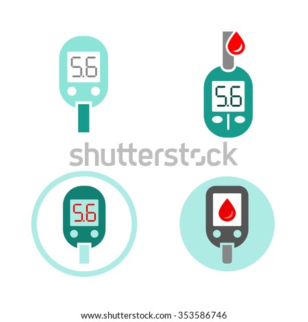 Beautiful vector diabetic set. Glucometer flat icons. Medical editable illustration in gray, green, red, light green and white colors isolated on white background. - stock vector