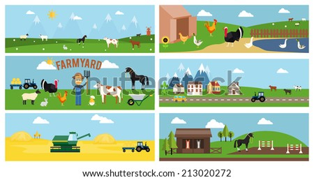 Beautiful Vector Farmyard Cartoon Banner for Web Pages and Other Graphic Designs - stock vector