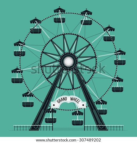 Beautiful vector ferris observation amusement country fair wheel. Ideal for graphic and motion design, wall art posters and other printables - stock vector