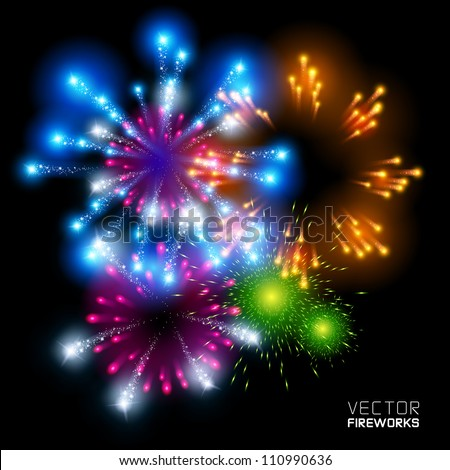 Beautiful Vector Fireworks, on a black background. - stock vector