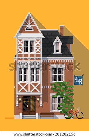 Beautiful vector flat design detailed lodging and overnight accommodation graphic element with cozy bed and breakfast house in classic design - stock vector