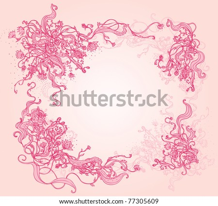 Beautiful vector floral patterned frame with roses - stock vector