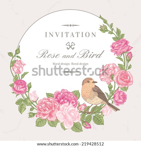 Beautiful vector frame with pink roses and birds in vintage style.  - stock vector