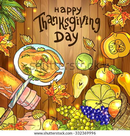 Beautiful vector hand drawn illustration thanksgiving food