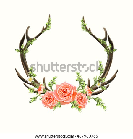 Beautiful Vector Horns Flowers Hand Drawn Stock Vector ...