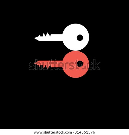 Beautiful vector illustration icon red and white key to the door - stock vector
