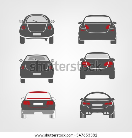 Beautiful vector illustration of car images useful for icon and logotype design on a light background. Back view silhouettes. Transportation automotive concept. Digital pictogram collection - stock vector