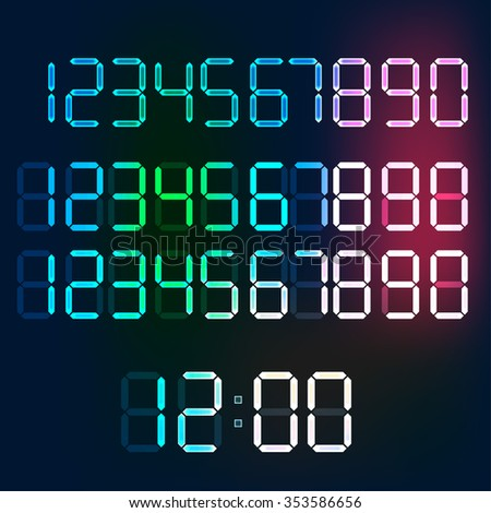 Beautiful vector illustration of digital glowing numerals. Editable graphic illuminated numbers useful for countdown, clock, electronic signboard or tableau creative design. - stock vector