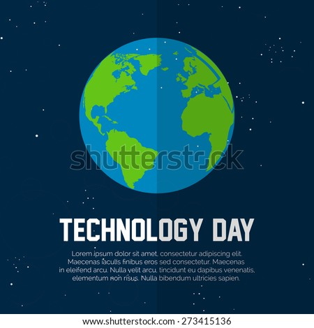 beautiful vector illustration of earth in a nice black colour shiny universe in the background for Technology Day. - stock vector