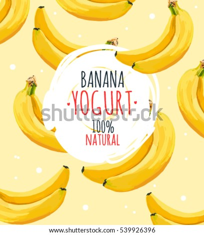 Beautiful vector illustration with banana and milk splashes. Yogurt logo on the yellow banana background.
