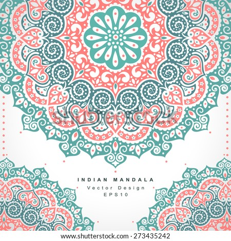 Beautiful Vector Indian floral ornament. Wedding Invitation. Greeting card - stock vector