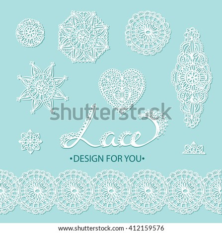 Beautiful vector lace elements - flowers, circles, heart and border. Vector illustration. - stock vector