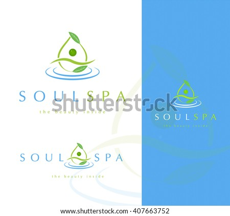 Beautiful vector logo design , a combination of the element of water, two leaves, and an abstract human silhouette - stock vector