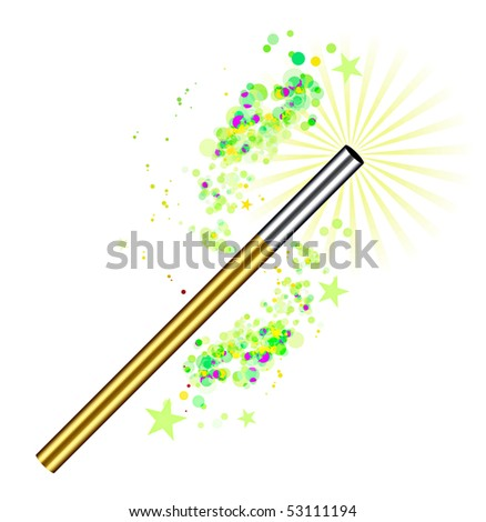 Beautiful vector magic background with wand - stock vector